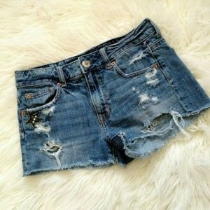 American Eagle Distressed Patch NY Jean Shorts 4